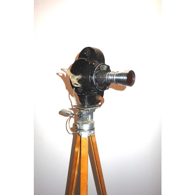 Early 20th Century Hollywood Early 20th Century Movie Camera With Head and Wood Tripod Legs For Sale - Image 5 of 7