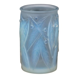 1920s Rene Lalique Opalescent Glass 'Laurier' Vase For Sale