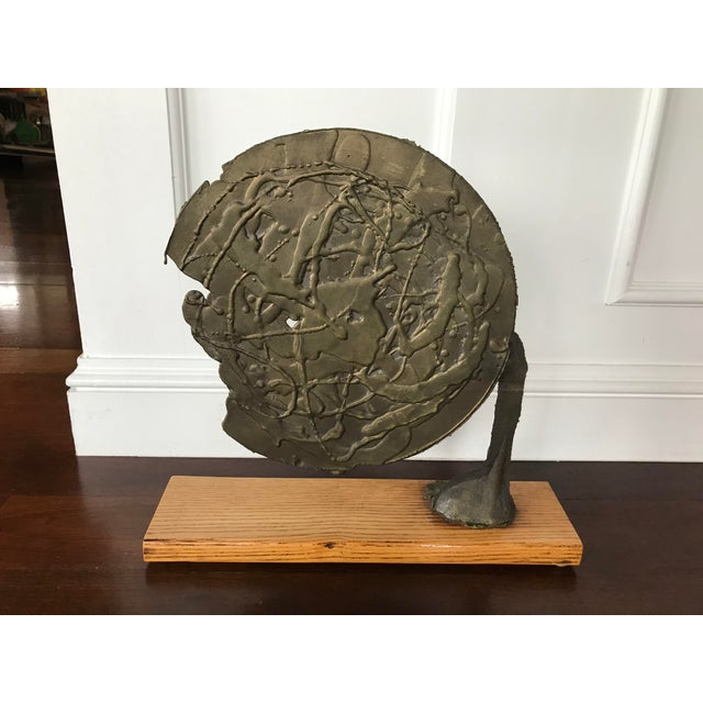 Metal Vintage Mid Century Modern Bronze Metal and Wood Abstract Sculpture For Sale - Image 7 of 12
