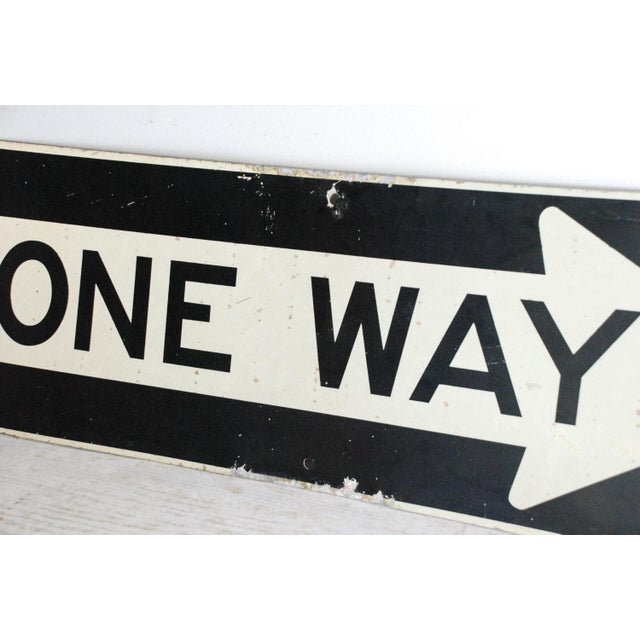 "Vintage Metal One Way 36"" Traffic Road Sign - Image 5 of 6"