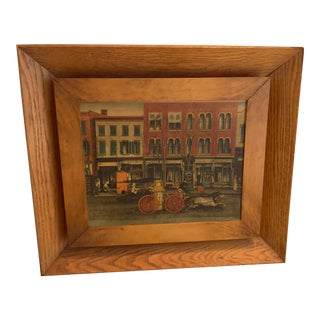 Vintage Street Scene Painting With Secret Compartment For Sale