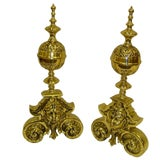 Image of Pair of Polished Brass Chenets or Andirons, 19th Century For Sale