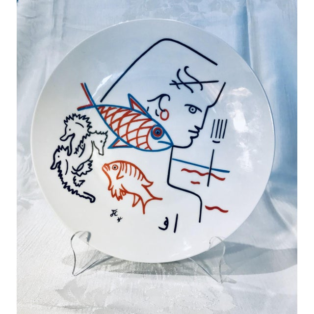 French Vintage Mid-Century Jean Cocteau Sodia Editions D'Art Signed Plate For Sale - Image 3 of 3