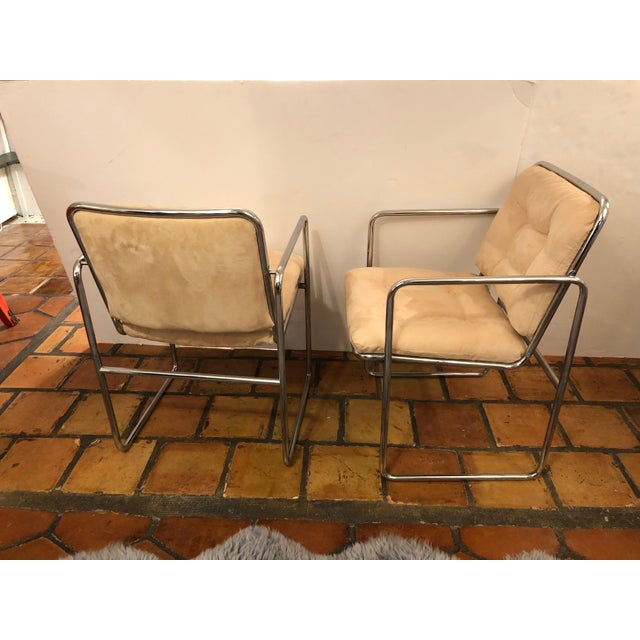 1970s Milo Baughman Style Mid Century Modern Ultra Suede and Chrome Club Chairs- a Pair For Sale - Image 5 of 10
