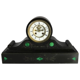 1890 Victorian Malachite Inlaid Slate Open Escapement Mantel Clock For Sale