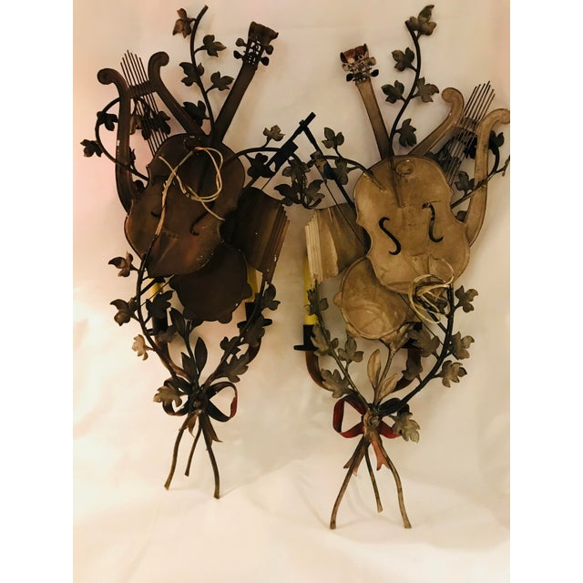 Gold 1950s Baroque Italian Tole Musical Sconces - a Pair For Sale - Image 8 of 11