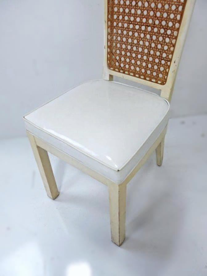Etonnant Mid Century Modern White Lacquer Caned Dining Chairs   Set Of 10 For Sale
