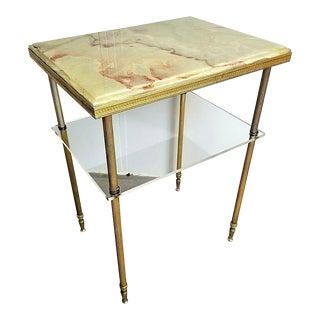 Art Deco 1940's Maison Jansen Green Onyx Bronze & Lucite End Table For Sale