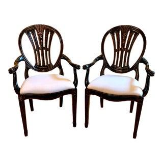 Jonathan Charles Hepplewhite Wheatsheaf Arm Chairs - a Pair For Sale
