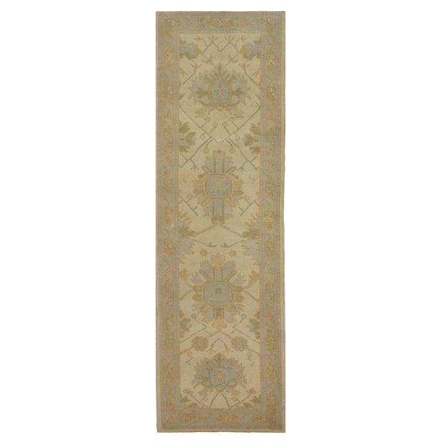 Turkish Wool Oushak Rug - 3′ × 9′8″ For Sale