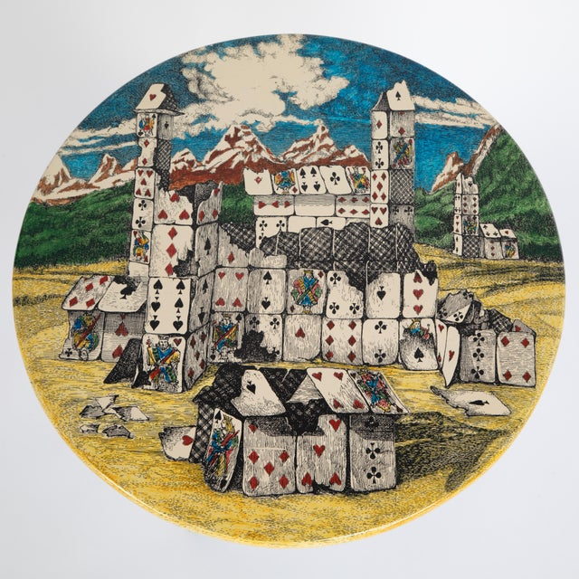 """Hollywood Regency Piero Fornasetti """"Città DI Carte"""" Side Tables, Circa 1950s - a Pair For Sale - Image 3 of 13"""
