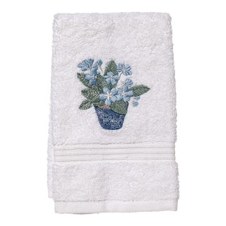 Blue Cache Pot Guest Towel White Terry, Embroidered For Sale