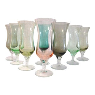 1950s Mid-Century Multi Colored Twisted Stem Wine Glasses - Set of 8 For Sale