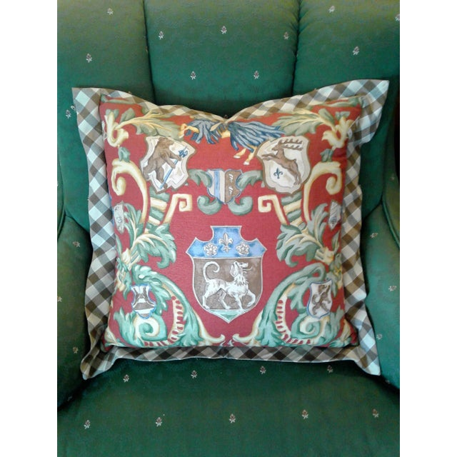 Red & Green Crest Pillow For Sale - Image 4 of 4