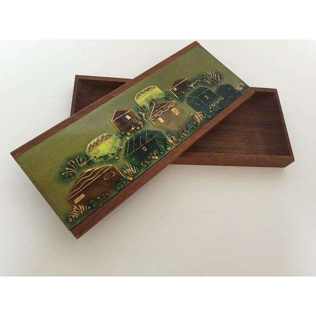 Sascha Brastoff Wood Box with Enamel Cover - Image 2 of 4