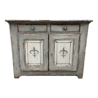 French Antique Painted Buffet With Fleur De Lis Motif - 19th C For Sale