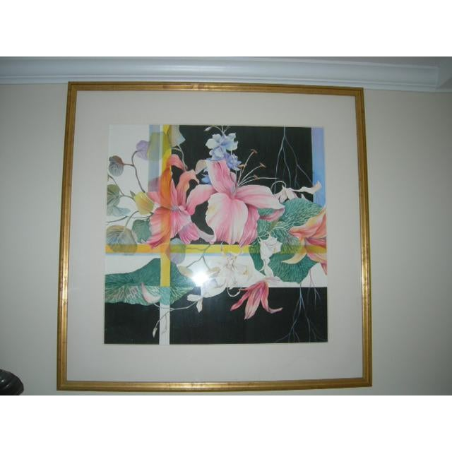 Black Contemporary Original Watercolor Painting, Framed For Sale - Image 8 of 8
