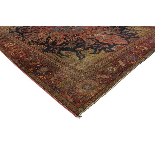 76816 Antique Farahan Rug with Modern Industrial Style, Persian Area Rug. This highly desirable antique Persian Farahan...
