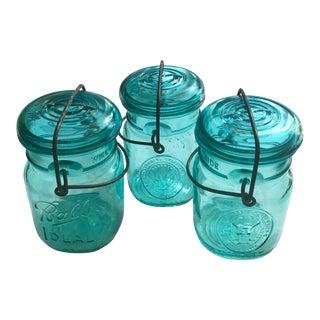Vintage Aqua Blue Bicentennial Canning Bar Wire Jars - Set of 3 For Sale