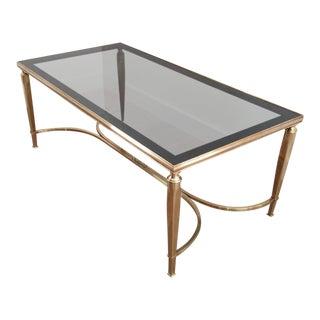 Mid Century Solid Brass Coffee Table With Smoke Glass & Curved Stretcher For Sale