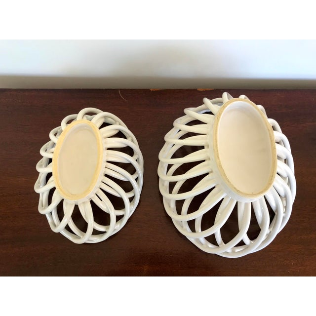 Mid 20th Century Mid 20th Century White Ceramic Open Weave Nesting Bowl Set - a Pair For Sale - Image 5 of 9