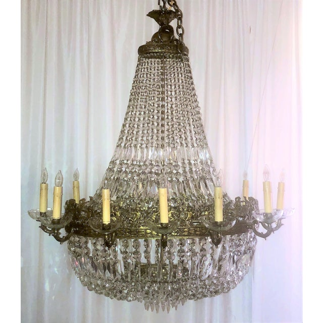 Antique French Bronze d'Ore and Crystal Chandelier, Circa 1880. Chandelier has an Oval Shape.