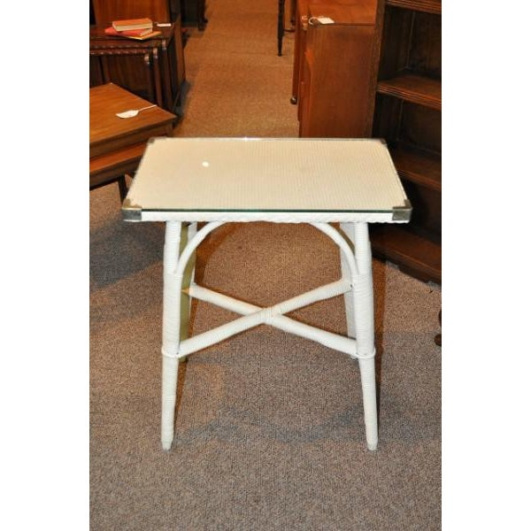 Lloyd Loom Glass Top Side Table - Image 2 of 3