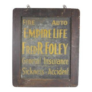 Early 20th C. Antique Tin Insurance Sign For Sale