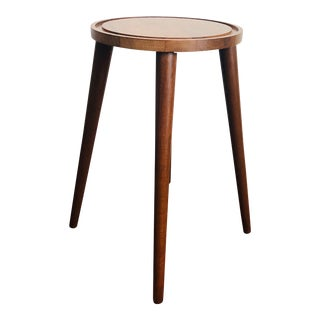 Mid Century Round Walnut Stool or Plant Stand For Sale