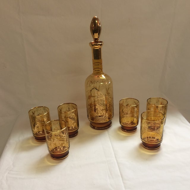 Italian Decanter and Matching Tall Glasses - S/7 - Image 7 of 9