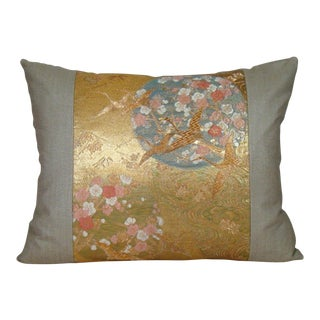 """Cranes in Flight"" Gold Metallic and Silk Japanese Obi Pillow Cover For Sale"