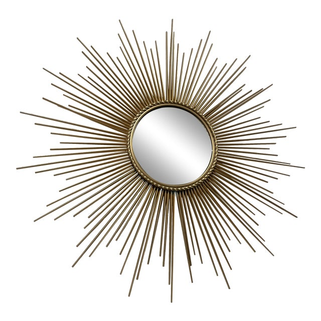 Mid-Century Chaty Vallauris-Style Gilt Metal Sunburst Wall Mirror For Sale