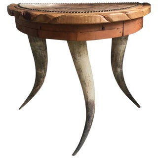 Demi-Lune Antler Folk Art Table with Nailhead Top