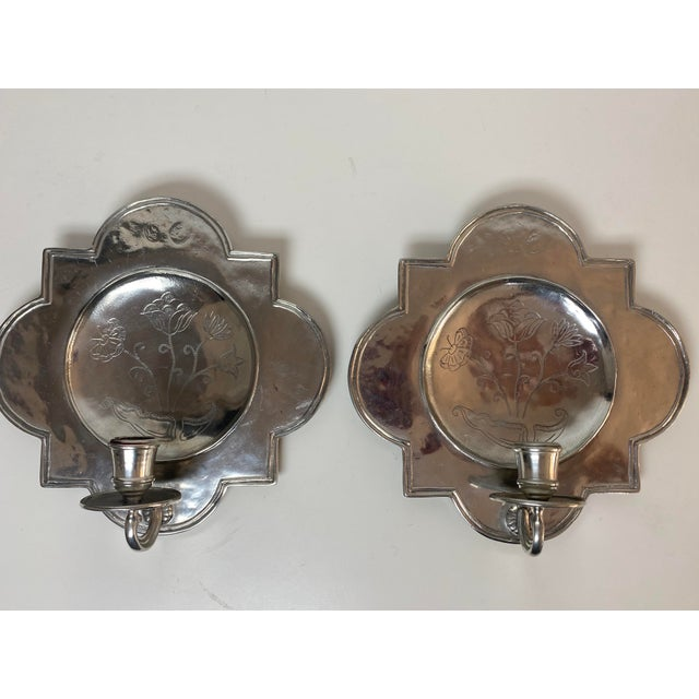 "Pierre Deux Pewter Wall Candle Sconces A Pair. Light scratches to surface but overall nice shape. Measures 9.5"" square and..."