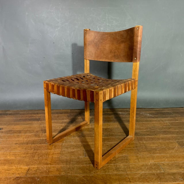 Set of Six Danish 1970 Woven Leather & Oak Dining Chairs For Sale In New York - Image 6 of 11