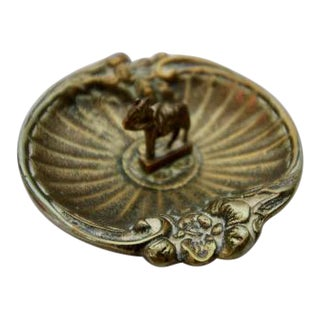 Vintage Brass Horse Detailed Trinket Dish