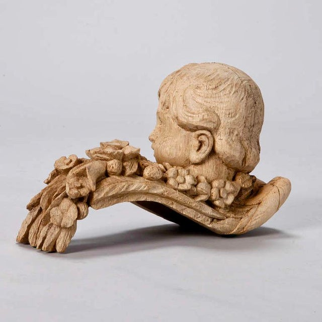 19th Century Bleached Oak Carved Cherubs - A Pair For Sale - Image 5 of 9