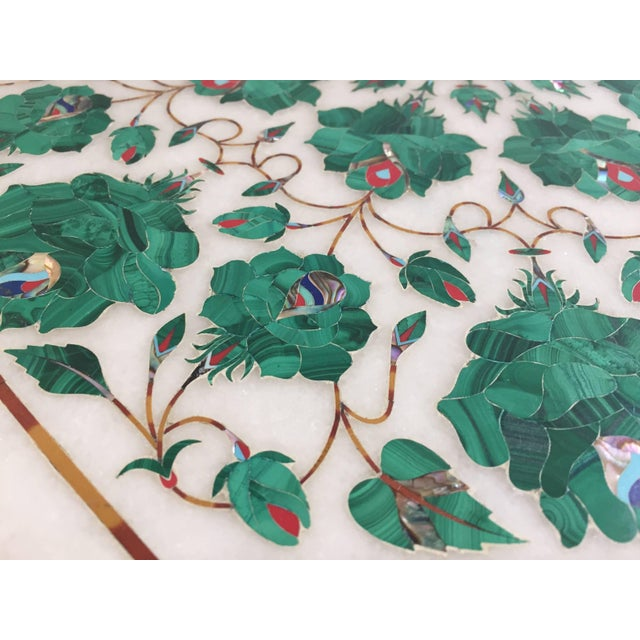 Mosaic Pietra Dura Marble-Topped Octagonal Table Inlaid in Taj Mahal Anglo Raj Style For Sale - Image 7 of 13