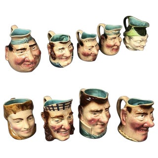 Nine French Majolica Caricature Figural Pitchers, by Sarreguemines For Sale