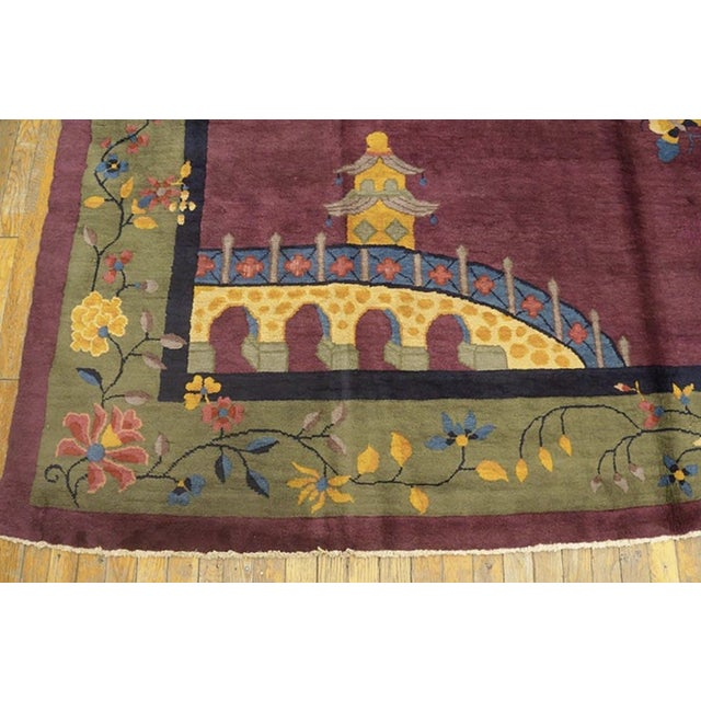 """1920s Antique Chinese Art Deco Rugs 9'2"""" X 11'8"""" For Sale - Image 5 of 11"""