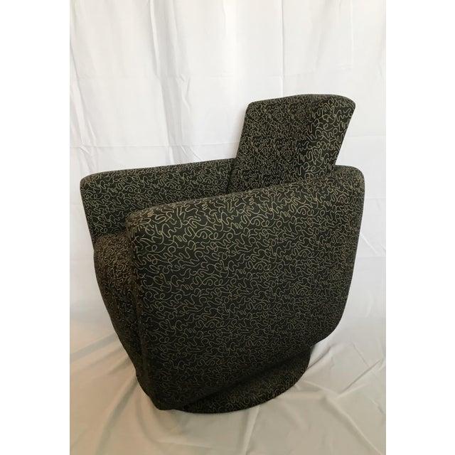 Mid-Century Modern Postmodern Vintage Swivel Upholstered Bucket Chair For Sale - Image 3 of 7