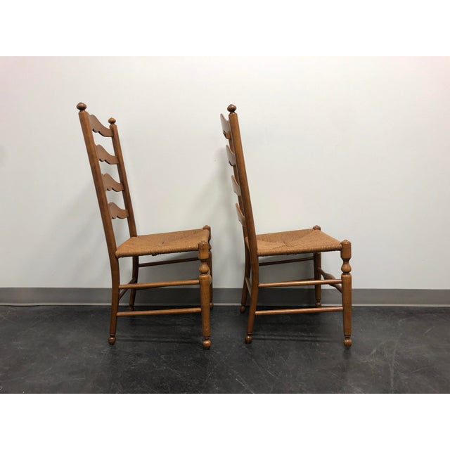 Ethan Allen Ethan Allen Ladder Back Rush Seat Dining Side Chairs - Pair 1 For Sale - Image 4 of 10