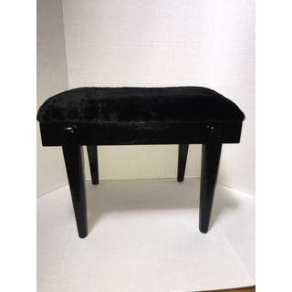Vintage Mid-Century Modern Black Lacquered Vanity Bench Preview