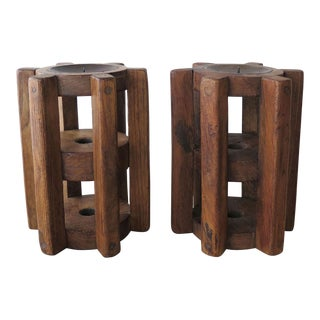 Repurposed Wood Gear Candle Holders - A Pair For Sale