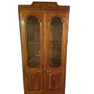 John Widdicomb French Regency Pecan Double Door Bookcase Cabinet For Sale