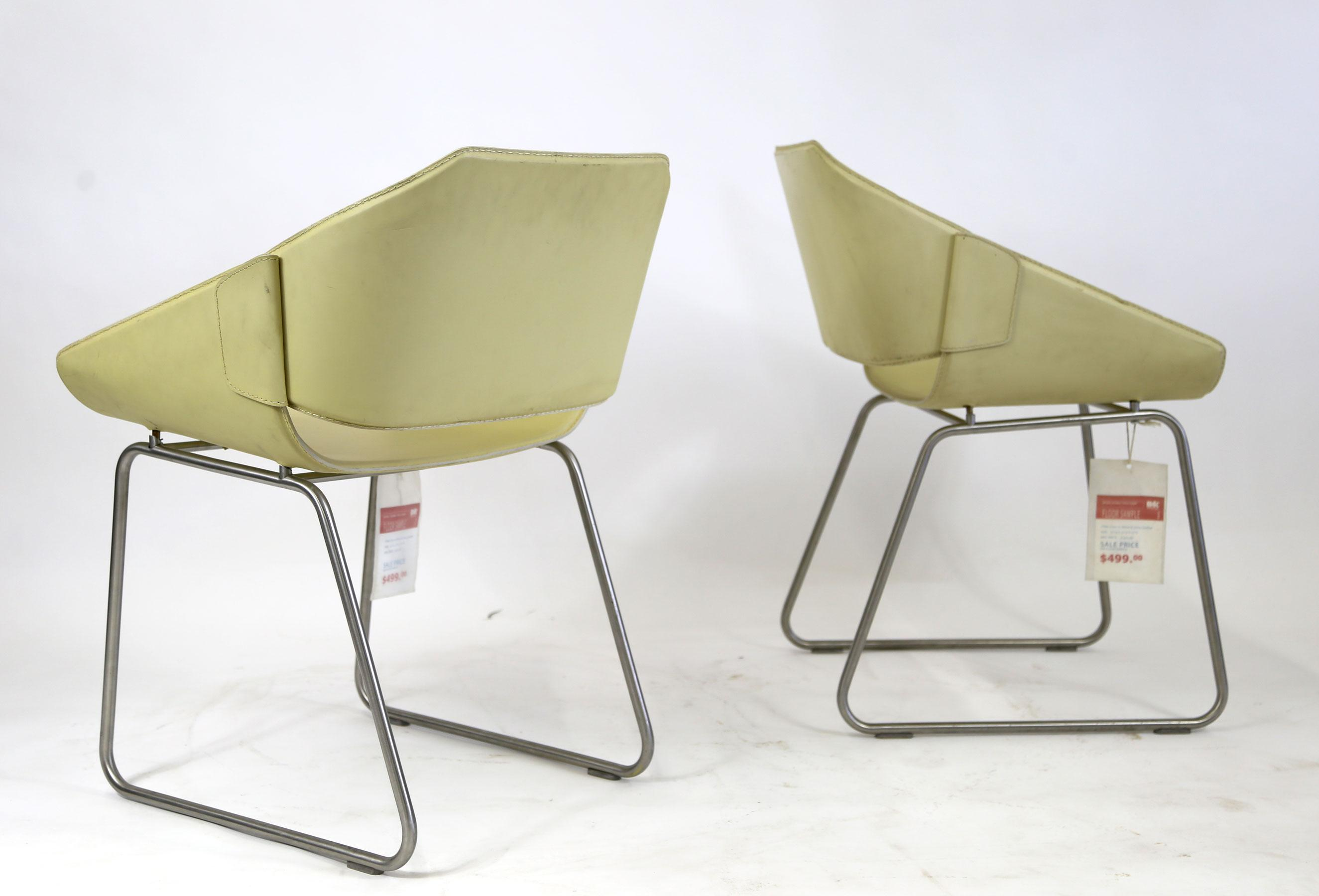 Brazilian Modern Cream Leather Side Chairs   A Pair For Sale In New York    Image