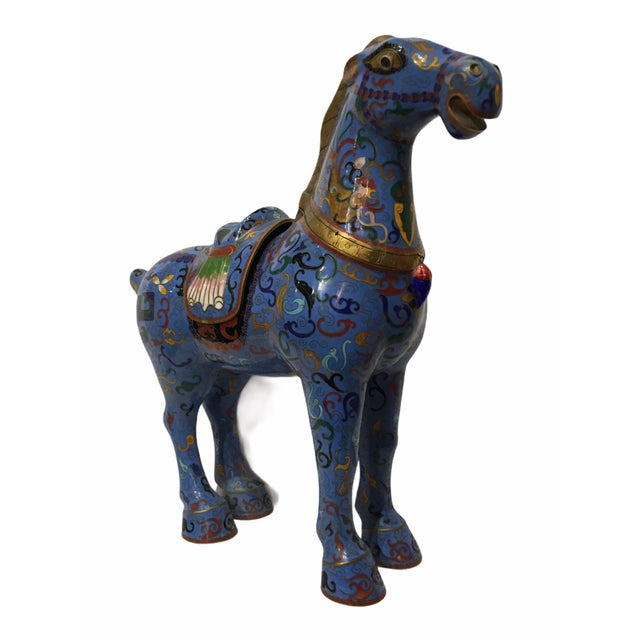 Metal Vintage Chinese Cloisonné Horse Statue For Sale - Image 7 of 13