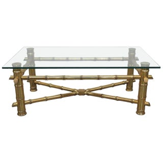 Regency Style Glass Top Coffee Table For Sale