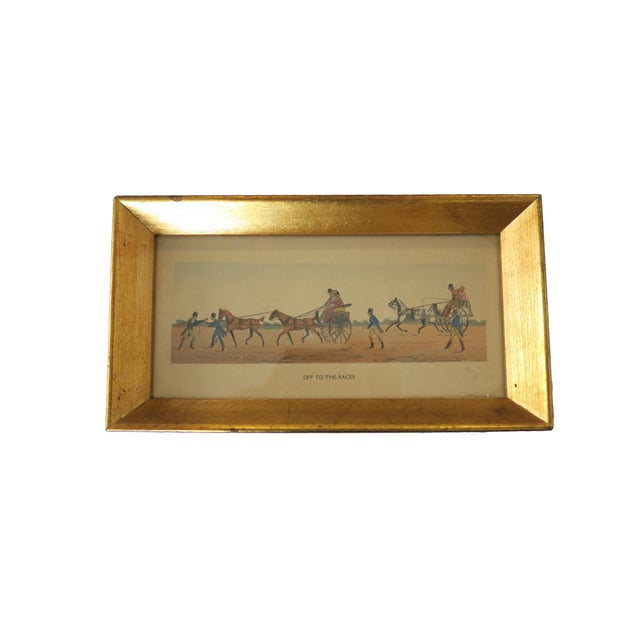 Vintage Off To The Races Horse Carriage Gold Framed Wall Art Set of ...