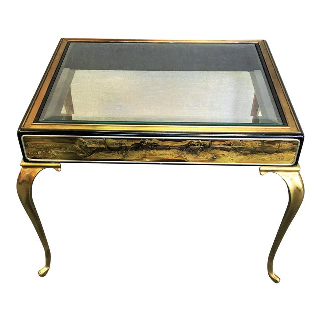 Mastercraft by Bernhard Rohne Etched Brass Table For Sale